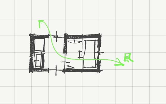 洗面・浴室に風の通り道を作る